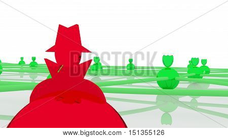 Secure network with several green spheres and shields as protected nodes and one red hacked connection 3D illustration cybersecurity concept close up