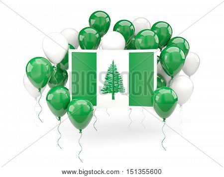 Flag Of Norfolk Island With Balloons