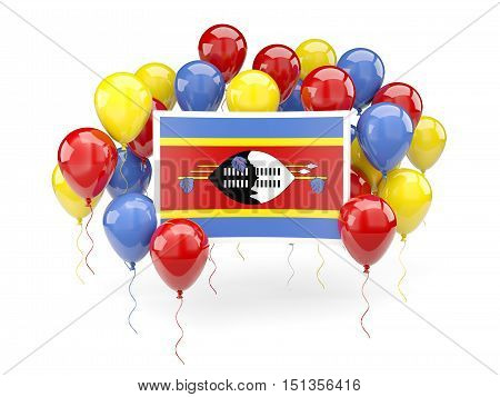 Flag Of Swaziland With Balloons