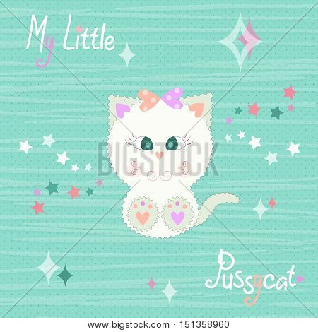 Vector illustration of a cute beige kitty baby on striped green background with stars in pastel colors. T-shirt design for kids. The design of baby clothes vector illustration.