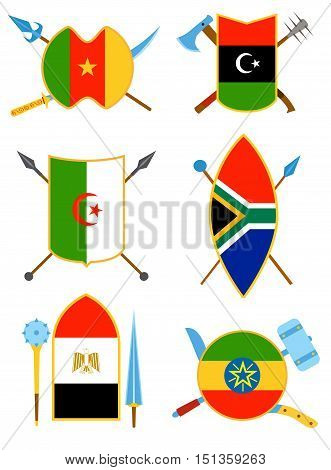 Ancient weapon shields with African flags. Also tool equipment set. Melee weapon. Cold weapon and country set. Historical shields.