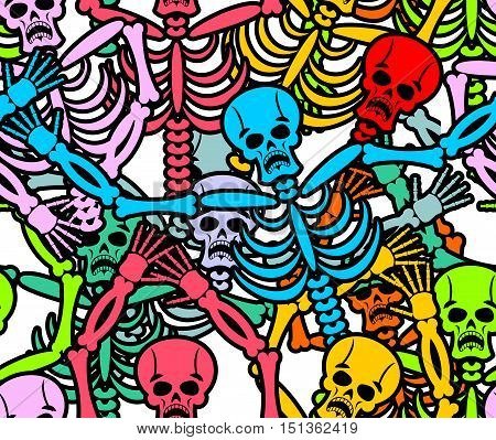 Day Of The Dead Seamless Pattern. Multicolored Skeleton Ornament. Skull Texture. Dead Background For