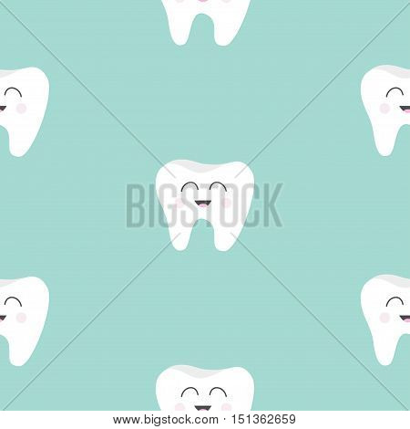 Seamless Pattern Tooth health. Cute funny cartoon smiling character. Oral dental hygiene. Children teeth care. Baby texture. Flat design. Blue background. Vector illustration.