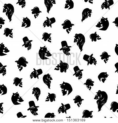 Male and female skulles in hats of different types. Black seamless pattern on white background. Isolated. Can be used for Halloween greeting cards, wrapping paper