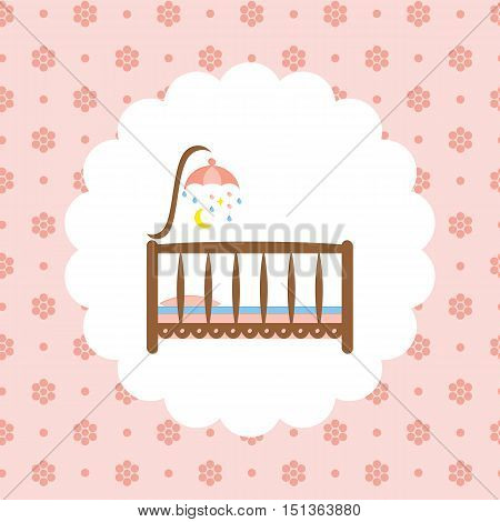 Baby crib. Flat vector illustration on floral pattern. Can be used for design greeting card, invitation or banner. All the elements can be used as icons for mobile applications or logos