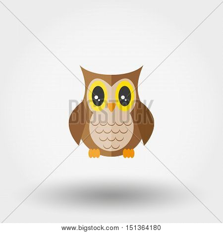 Owl. Stuffed toy. Icon for web and mobile application. Vector illustration on a white background. Flat design style.