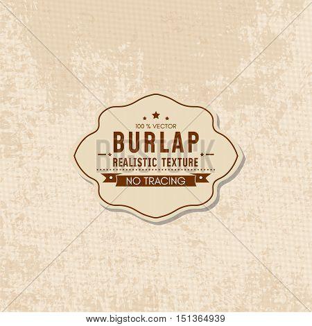Realistic texture of burlap textile material sack texture vector illustration