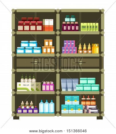 Pharmacy shelves with medical box and bottles for drugs flat vector concept. Illustration of vitamin and antibiotic for medication