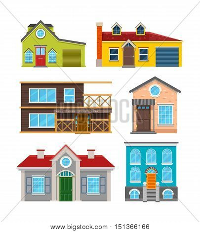 Cottage house flat vector icons. Architecture building, home with door and window illustration