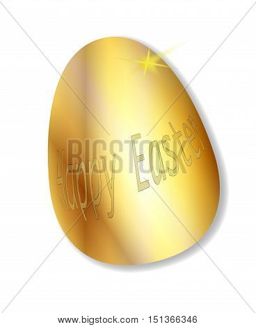 A golden easter egg with the words 'Happy Easter'.