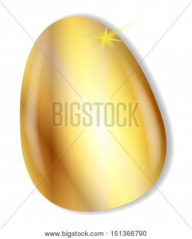 A golden easter egg over a white background