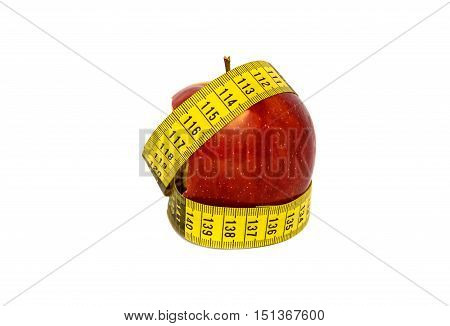 bitten apple with measuring tape isolated on white