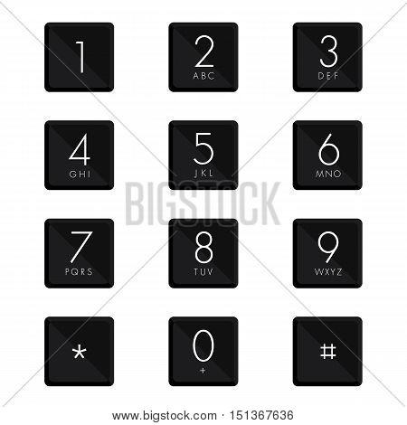 Numeric keypad set design on white background.