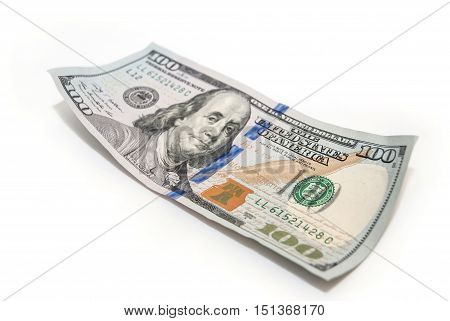 one hundred dollar closeup on white background