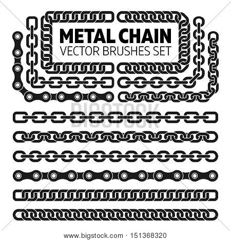 Metal chain links vector pattern brushes set. Interlink border frame illustration