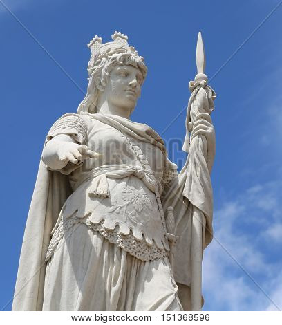 Detail Of Marble Statue Of Liberty With Lance In San Marino