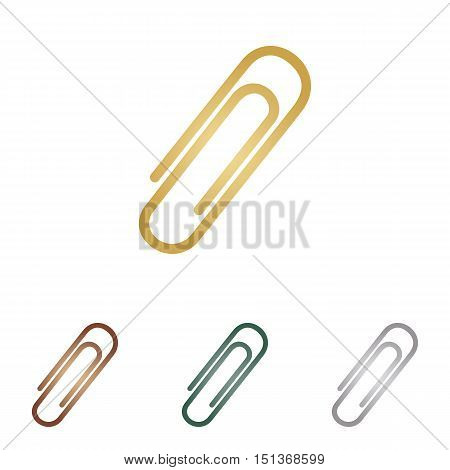 Clip Sign Illustration. Metal Icons On White Backgound.