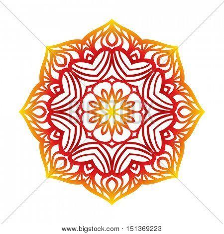 Round pattern, Circular ornament design element, Vector