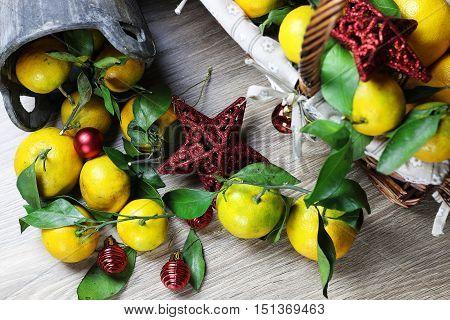 basket of mandarins new year on wooden floor