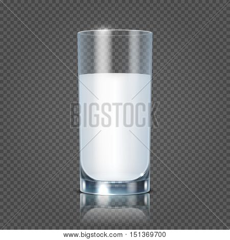 Glass of milk isolated on transparent checkered background vector illustration. Healthy beverage fresh and natural nutrient