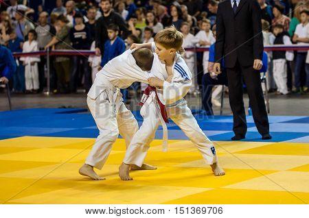 Orenburg, Russia - 16 April 2016: Boys Compete In Judo