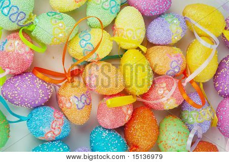 Colorful Eastern Eggs On White Background