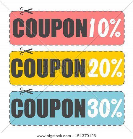 Coupon design, Sale icon, Shopping concept, on white