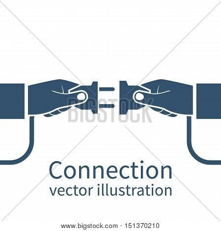 Connection concept icon isolated on white background. Partnership. Vector illustration flat design. Businessmen connecting hold plug and outlet in hand. Cooperation interaction.