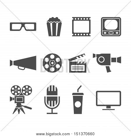 vector black and white movie icons set
