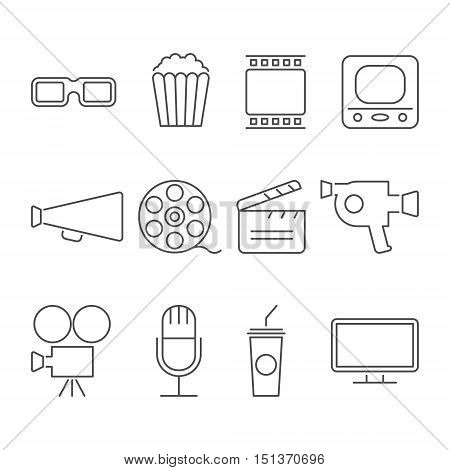 Simple Set of Cinema Related Vector Line Icons. Contains such Icons as Movie Theater, TV, Popcorn, Video Clip and more.