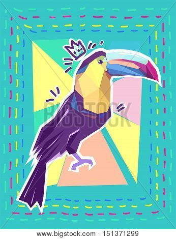 toucan print, print illustration, pattern print abstract bird, tropical bird vector. Beautiful print on a T-shirt tropical theme. Design of a tropical bird. toucan vector