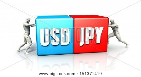 USD JPY Currency Pair Fighting in Blue Red and White Background 3D Illustration