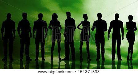 Business Team With Power Confident Pose as Abstract 3D Render