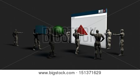 Internet Commerce and Electronic Browser Development Art 3D Render
