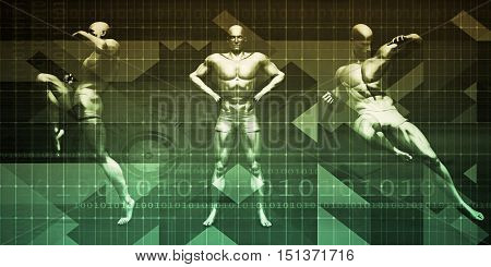 Fighting Background as a Abstract Concept with Men Ready to Fight 3D Render