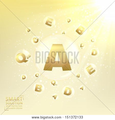 Cosmetic care of skin. Concept of cream for protection from uv rays and from ageing. Shining background with transparent bubbles with golden letters. Vector illustration.