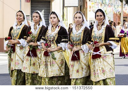 SELARGIUS, ITALY - September 13, 2015: Former marriage Selargino - Sardinia - group of beautiful girls in traditional Sardinian costume
