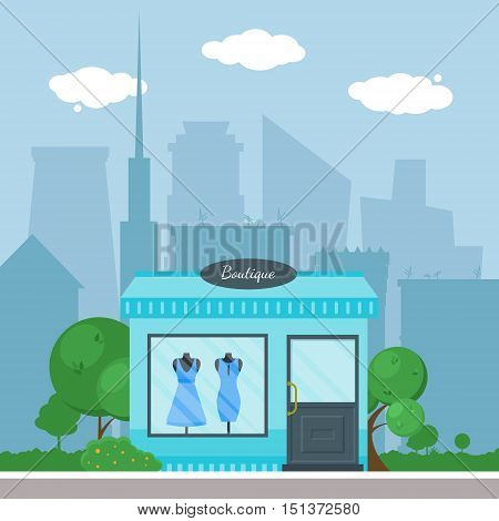 Flat Shop Store Building With City Background