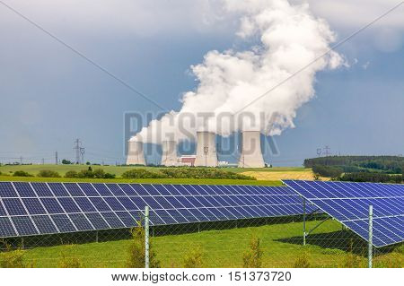 Nuclear power plant with solar panels in Czech Republic Europe