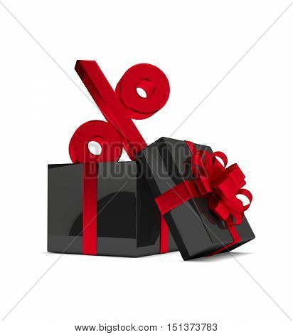 3D Rendering Of Gift Box With Percent Sign Isolated Over White