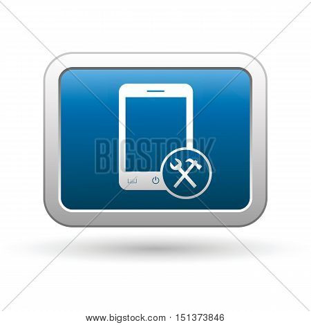 Phone icon with tools menu. Vector illustration