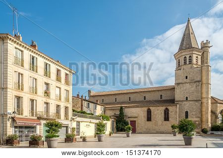 BEZIERS,FRANCE - AUGUST 27,2016 - Church of Madeleine of Beziers. Beziers is a town in Languedoc in southern France.