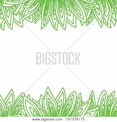Cute background pattern border frame with many green leaves on the white fond. With space for text. Can be used for invitations menu poster or greeting cards. Vector illustration eps