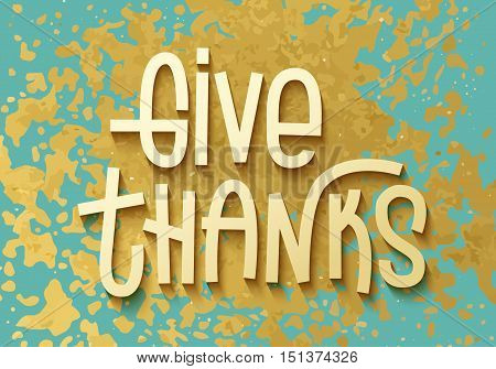 Give Thanks Gold Leaf Boho Chic Style Thanksgiving Greeting Card With Shiny Glitter Splash And Custo