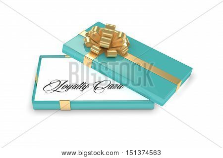 3D Rendering Of Gift Box With Loyalty Card Isolated Over White