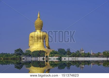 Buddha statue at Wat Muang world's largest .
