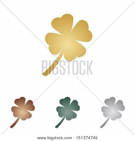 Leaf Clover Sign. Metal Icons On White Backgound.