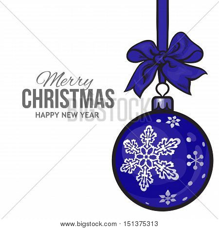 Christmas ball with blue ribbon and bow, vector greeting card template with white background. Shiny Christmas decoration ball of solid blue color and snowflake ornament, card template for Christmas