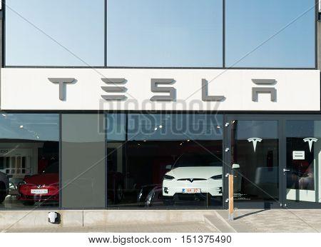 Aarhus, Denmark - September 14, 2016: Tesla Car Dealer Entrance With Logo