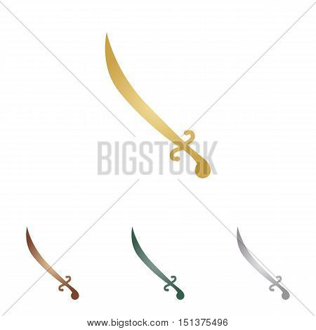 Sword Sign Illustration. Metal Icons On White Backgound.